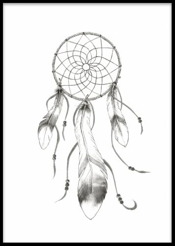 Beautiful art poster in black and white with a dreamcatcher print. Match this poster with some of our other prints in the same style, like the buffalo horns or the indian chief posters. Desenio.co.uk
