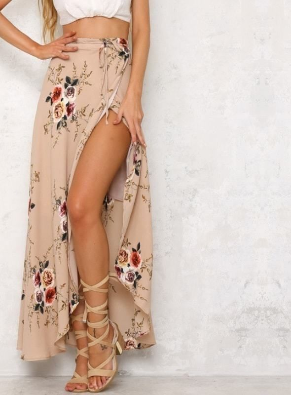 Trendy Summer Casual FLoral Long Skirt