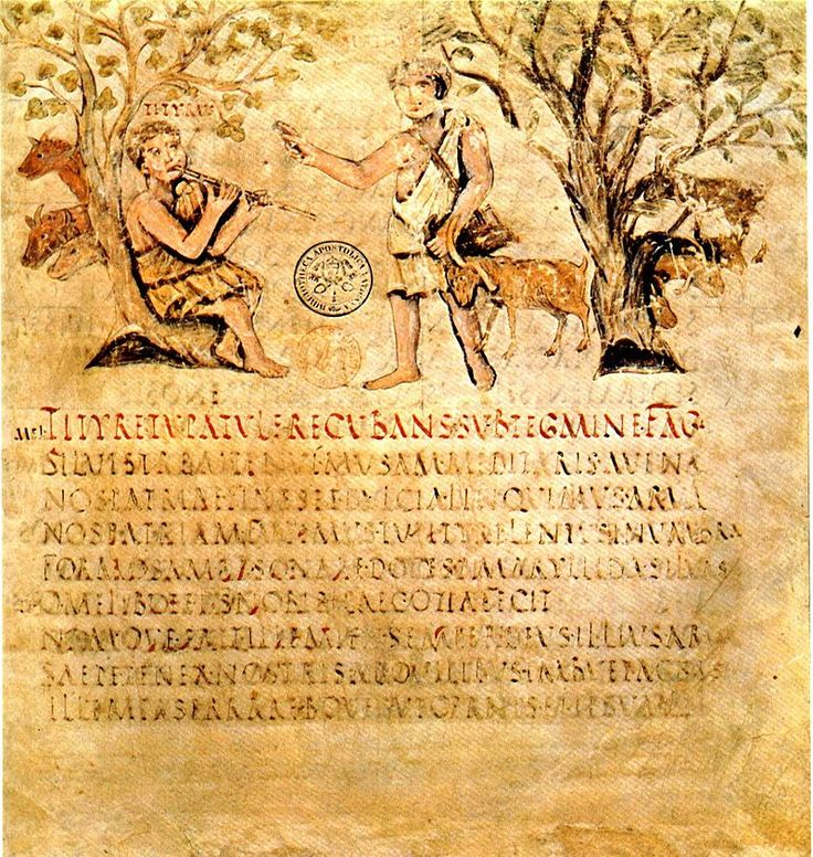 """the Roman or Romana Capital Script in the fifth century: Virgil's Eclogues, Folio 001r (""""a very early Roman script at the beginning of the medieval era."""")"""