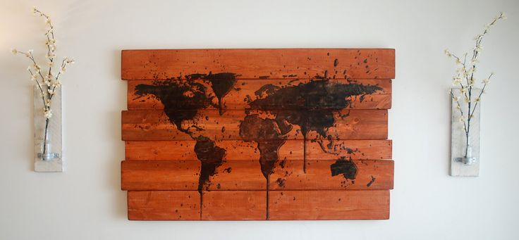 Extra Large World Map Wall Art on Stained by BubingaArtistry, $199.00