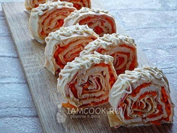 Рецепт рулета из лаваша с крабовыми палочками и корейской морковкой