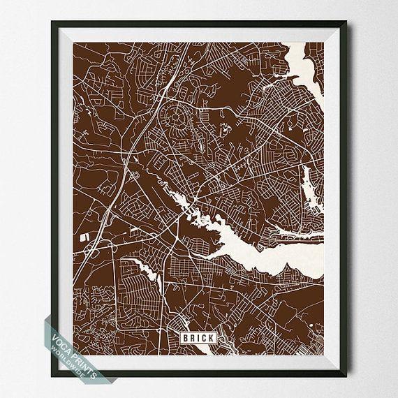 Brick Print New Jersey Poster Brick Map Brick Poster by VocaPrints