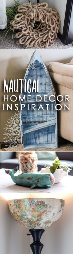 """DIY Nautical Home Decor Inspiration: No matter where you live, you can bring the beach to your home with nautical home decor! Transforming my small apartment living room into a coastal-themed space was surprisingly easy. Below, I share three simple steps to take to achieve a light & airy, """"beachy"""" feel!"""