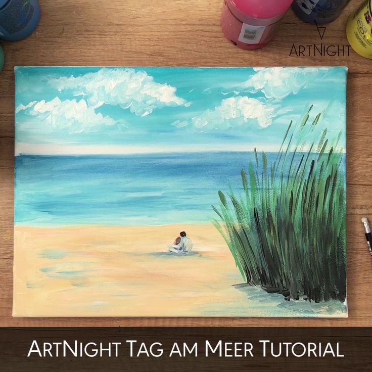 Video Meer Malen Mit Acryl Beach Art Painting Sea Painting