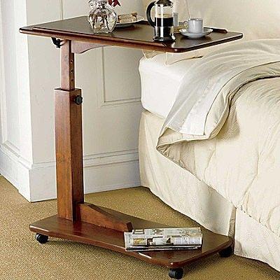 Tilting amp Adjustable BEDSIDE ROLLING TRAY TABLE