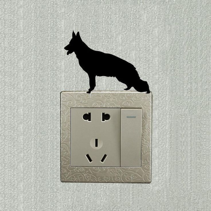 [Visit to Buy] German Shepherd Dog European Style  Wall Decals Personalized Creative Switch Sticker 2SS0804 #Advertisement