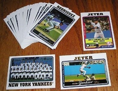 2005 Topps New York Yankees MEGA team set (43 cards) shipped in an acrylic case. All cards from series 1, 2 and Update set. Includes #1 Alex Rodriguez, 40 Gary Sheffield, 62 Javier Vazquez, 89 Tony Clark, 98 Flash Gordon, 118 Mariano Rivera, 122 Orlando Hernandez, 147 Mike Mussina, 149 Jon Lieber, 200 Jason Giambi, 286 Joe Torre MG, 298 Melky Cabrera FY RC, 307 Matt DeSalvo FY RC, 326 Elvys Quezada FY RC, 349 ALDS Alex Rodriguez - Ruben Sierra, 370 Randy Johnson, 408 Hideki Matsui, 451 Jorge…