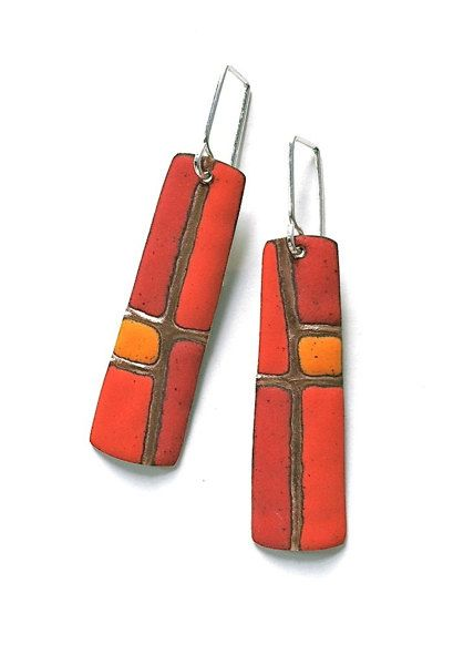 Patchwork Series Earrings in Reds and Orange by AngelaGerhard