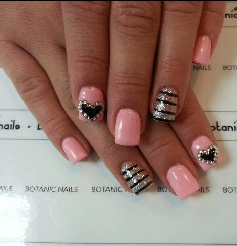 208 best nail ideas images on pinterest nail design nail art pink black and white striped and black and white heart nails prinsesfo Gallery