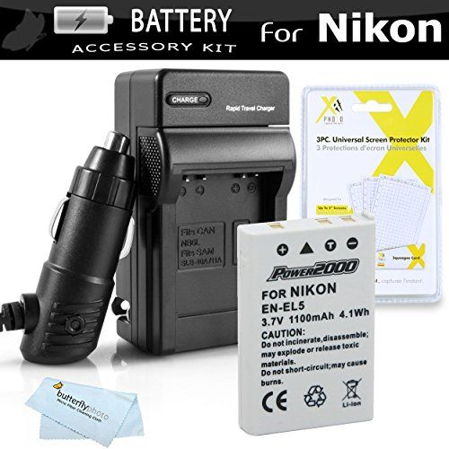 Battery And Charger Kit For Nikon P100 P500 P510 P520 P530 Digital Camera Includes Extended 1100 Mah Replacement Nikon ENEL5 Battery  ACDC Rapid Charger  LCD Screen Protectors  Cleaning Cloth * Read more at the image link.