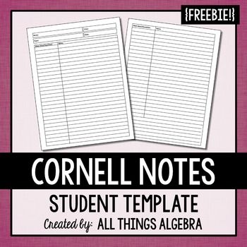 FREE Cornell Notes TemplateI was very frustrated with finding a Cornell Notes template because many seemed to waste a lot of space.  I created my own and use it frequently throughout the year to design my notes.  If you find this item useful, please leave feedback!