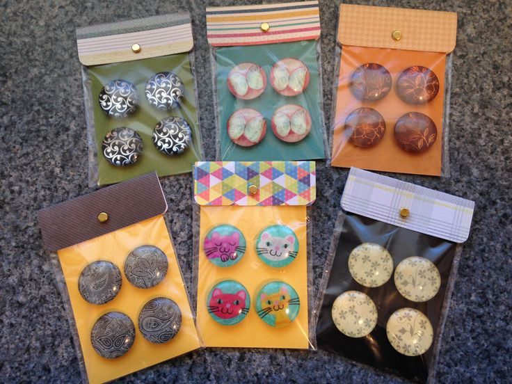 Create these cute little gift packets for your homemade glass tile refrigerator magnets.put small metal washers on back to hold magnets on front.