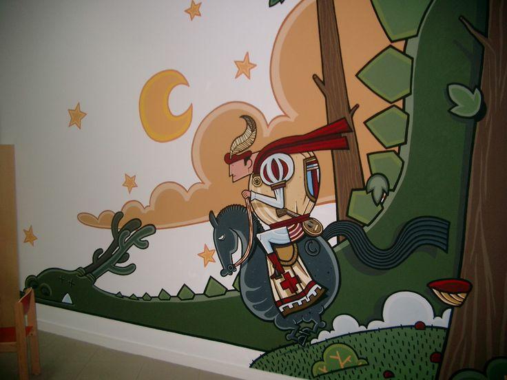 Mural de Kiko da Silva na sala infantil da Biblioteca