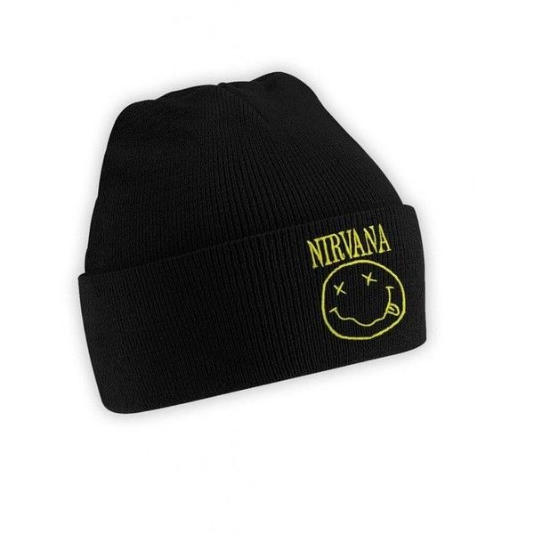 Nirvana Logo Smiley Beanie Hat Kurt Cobain Rock Hipster Trend Punk ($5.06) ❤ liked on Polyvore
