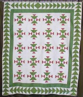 Exceptional Hens Chicks Antique Civil War Quilt Flying Geese Border Turkey Red | Vintageblessings