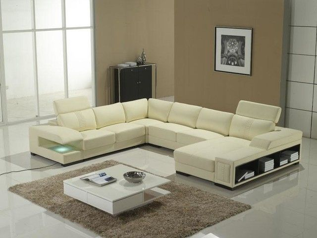 Perfect Chic U Shaped Sectional Sofas You Must Have : Awesome OffWhite Leather  UShaped Sectional Sofa Design Inspiration With Storage Shelves In Bei.