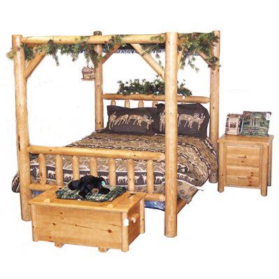 Best 20 log bed ideas on pinterest log bed frame for Log canopy bed frames