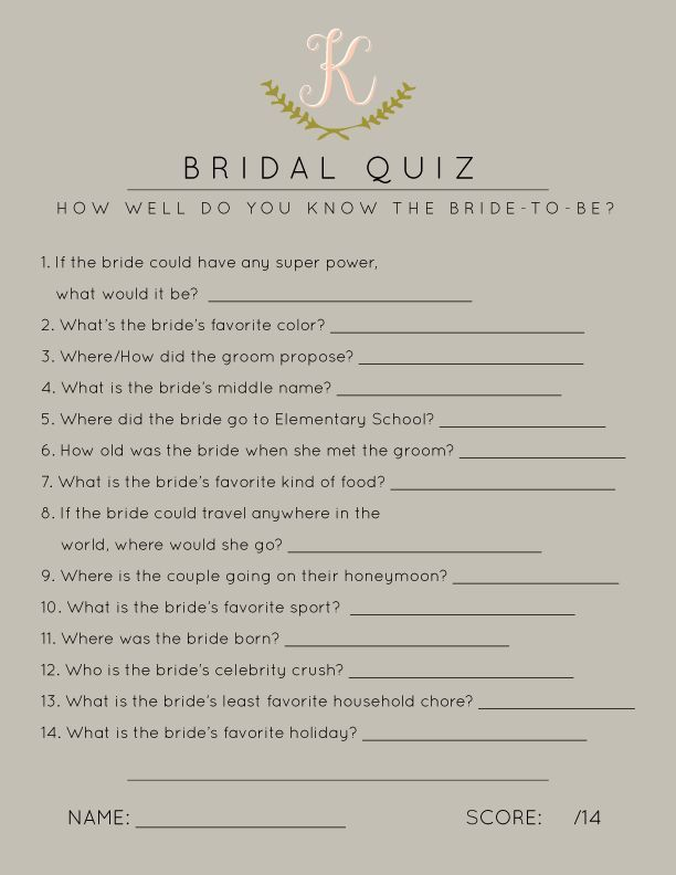 Bridal Shower Games, Bridal Shower Quiz, How Well Do You Know the Bride? // visit http://betsygettis.blogspot.com/2013/11/design.html for customization info!: