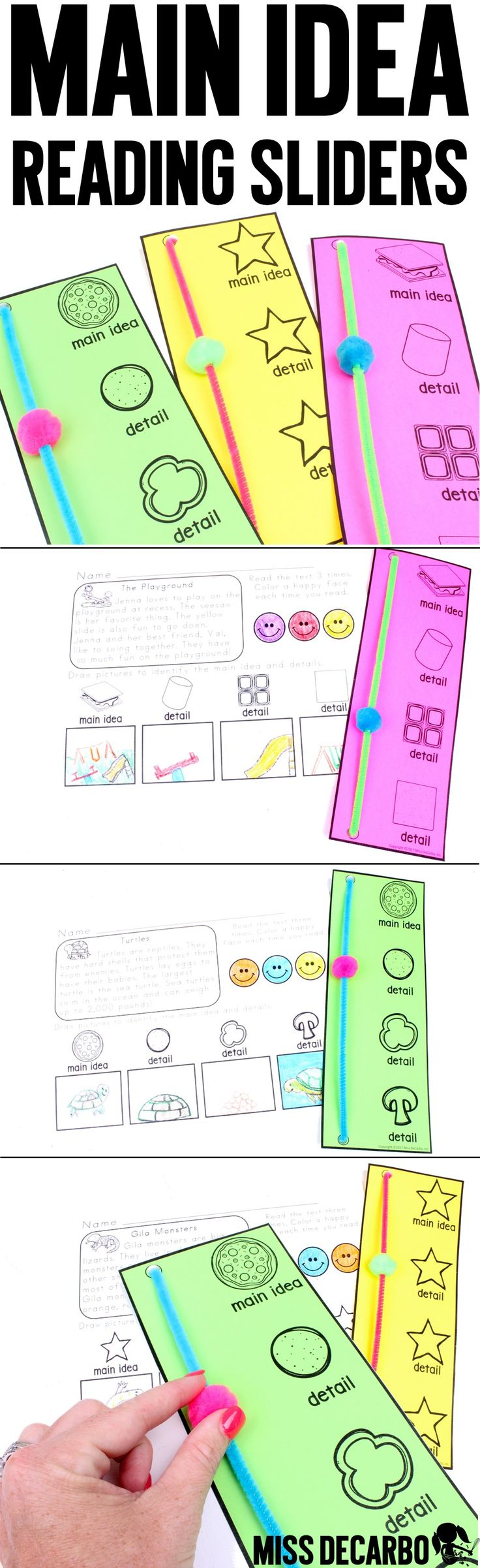 Main Idea and Details Reading Tool! A hands-on, kinesthetic, and highly visual comprehension tool to add to your reading toolkit! The resource includes three versions of the Main Idea reading slider to help you teach main idea and details to your students!  20 coordinating reading passages are included, as well as multiple differentiated graphic organizers. These are great for small group reading, assessment, intervention, re-teaching, and more!