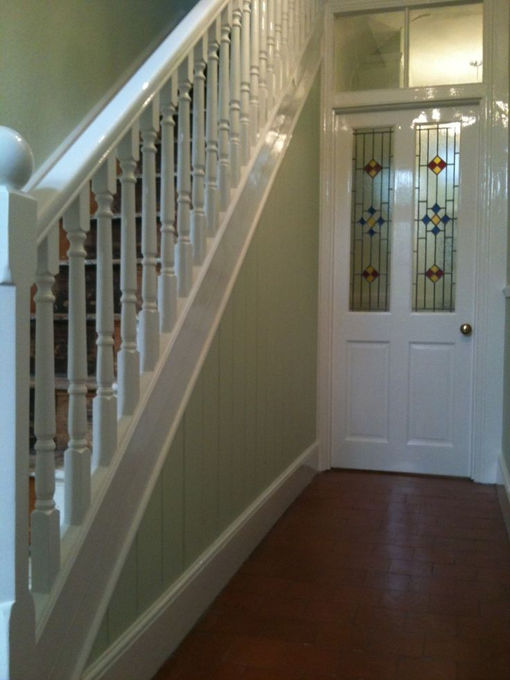 Best 12 wooden panneling images on pinterest wall - How to wallpaper stairs and landing ...