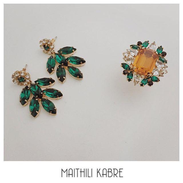 Emerald Leaf Tropical Garden, Available at : www.maithilikabre.com/shop #fashion #luxury #glamour #Jewellery #earrings  #mumbai #india  #indian  #kolkata  #design #style #sg #japan #ootd #minimal  #urban #love #makeup #fresh #lemon #maithilikabre #accessories  #ighub #whatiwore  #igdaily  #ighub Whatsapp +91 99-20-87942