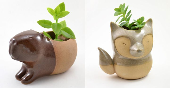 Adorably Tiny Animals Fashioned into Ceramic Succulent Planters - My Modern Met