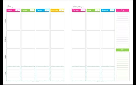 Calendar - Any year Unfilled (blank),1 week 2 page spread, Potrait