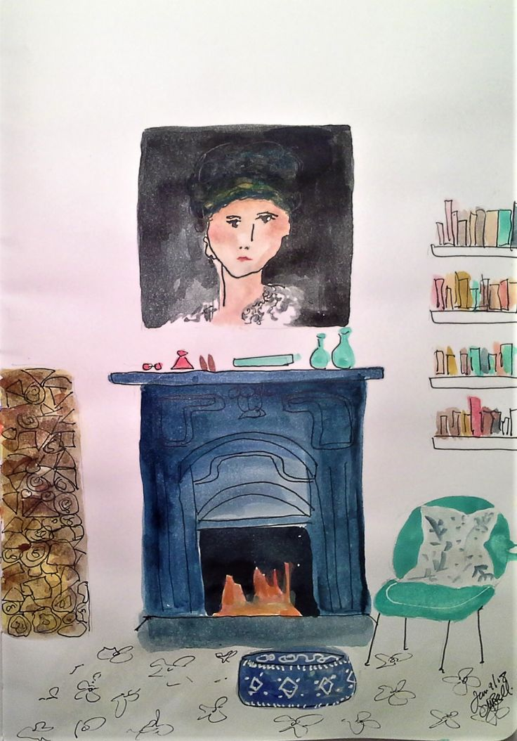 Interior -blue fireplace Daily page Cindy M. Bell