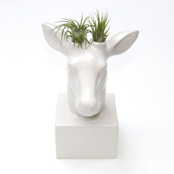 Ceramic White Deer Vase  Unique Deer Flower or by NearAndDeer