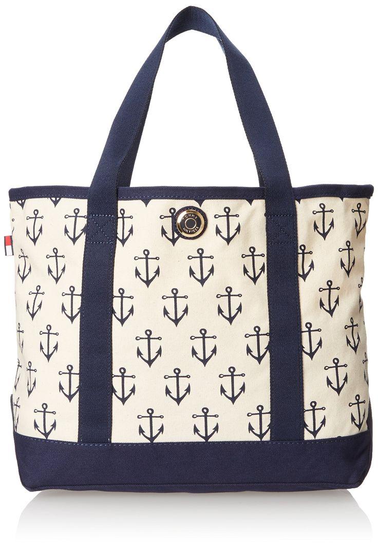 Tommy Hilfiger Canvas Anchor Print Large Shoulder Bag, Navy/Natural, One Size