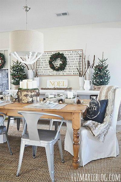 Neutral  natural rustic Christmas dining room - lizmarieblog.com