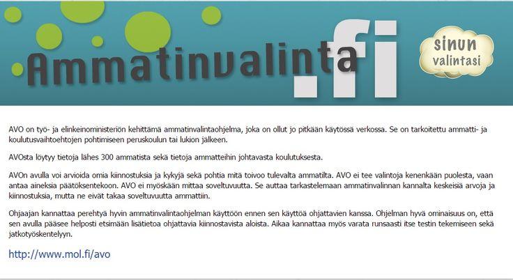 Työ- ja elinkeinoministeriön kehittämä ammatinvalintaohjelma.