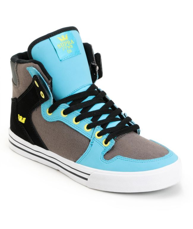 Supra Vaider Turquoise, Grey & Black Shoe $70