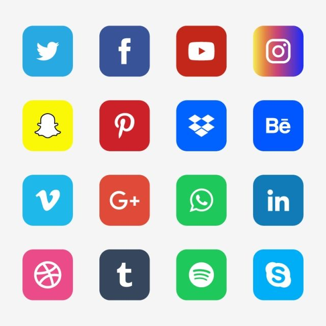 Round Corner Color Social Media Icons Sheet Social Icons Color Icons Media Icons Png And Vector With Transparent Background For Free Download Social Media Icons Media Icon Social Icons