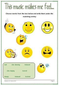 FREE download! A useful one page listening response resource for young students.  Students are to select the word or words from the box, that best describe how listening to a piece of music made them feel.