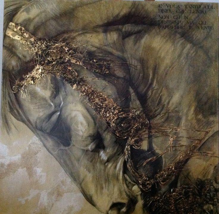 Carboncino, acrilico, pastiglia, polvere di ferro, sfoglia d'oro zecchino, sabbia su tavola. Baiardo, Orlando Furioso.