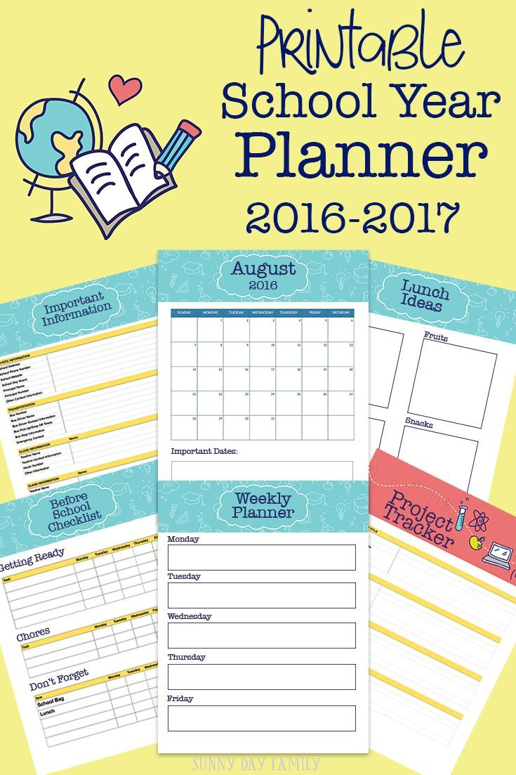 Head back to school with this printable planner! Organize your life for the upcoming school year with this awesome planner - calendars, checklists, school lunch ideas and more. Love this!
