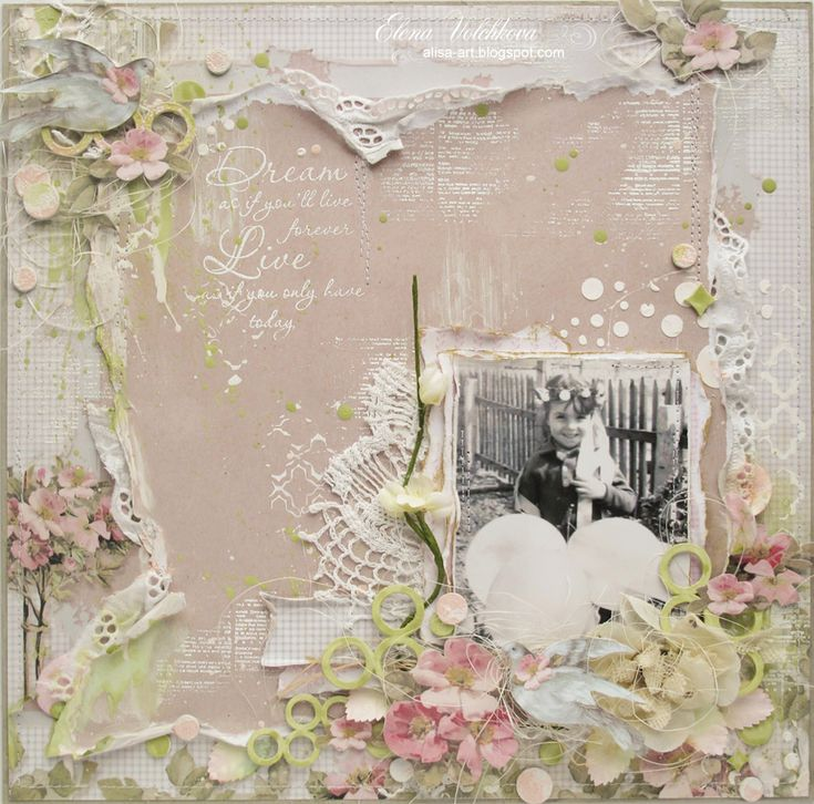 A gentle layout of spring - Scrapbook.com Featuring chipboard from Blue Fern Studios