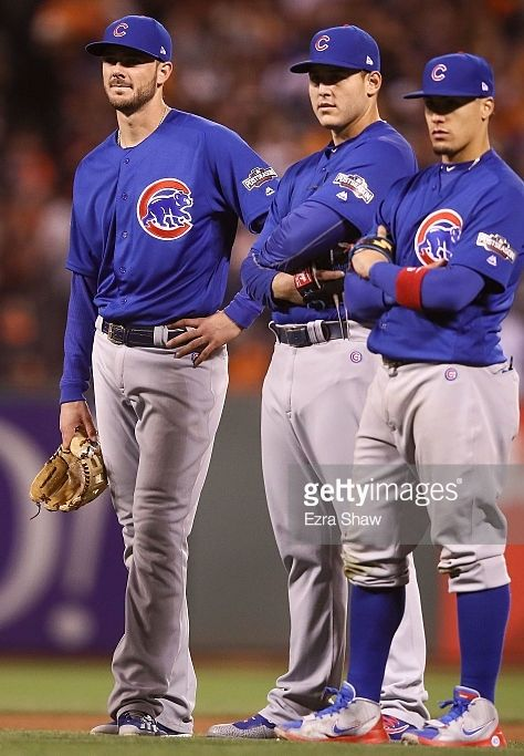 Kris Bryant,Anthony Rizzo,Javier Baez,CHC//Oct 10, 2016 Game 3 NLDS at SF
