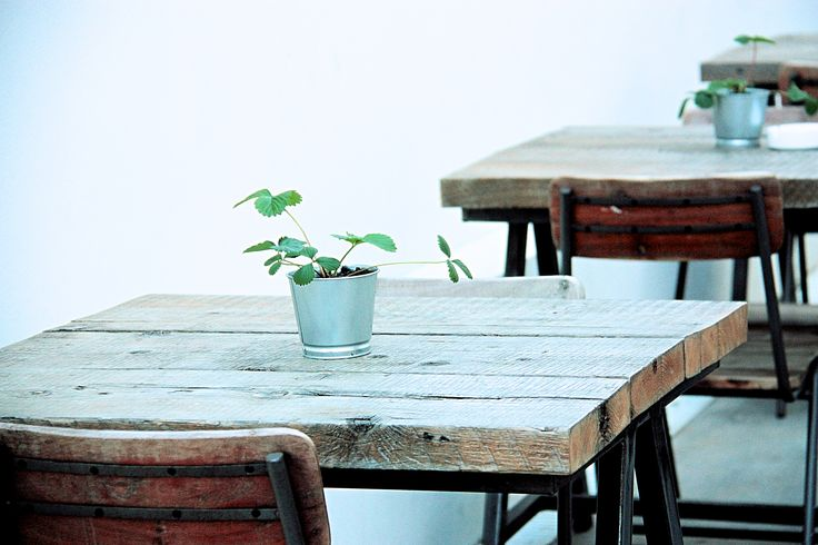 Reclaimed rough wood. Working bench table. School chairs. Strawberry plants as decoration.