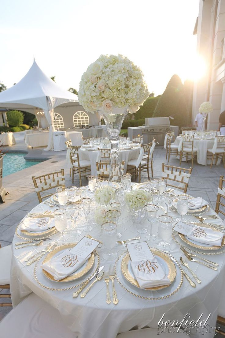 Tall white hydrangea centerpiece on all white tables with gold chivaris and gold beaded chargers, gold accented plates MY PERFECT WEDDING!