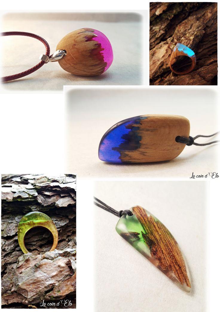 Bijoux fantaisie en résine et bois fait main. bijoux féerique / bijoux magique / collier résine / bague résine Resin wood jewerly DIY