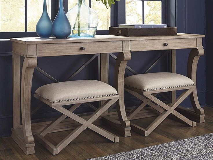 Vintage Artisan Console Table by Bassett Furniture combines pared down traditional elements with natural dry finishes for a fresh, casual sophistication.