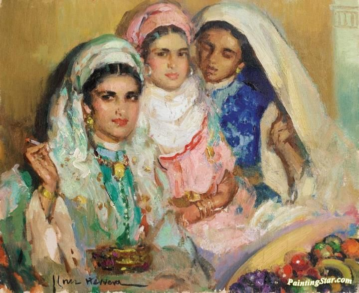 Three Moroccan Women With Fruit Basket Artwork by José Cruz Herrera Hand-painted and Art Prints on canvas for sale,you can custom the size and frame