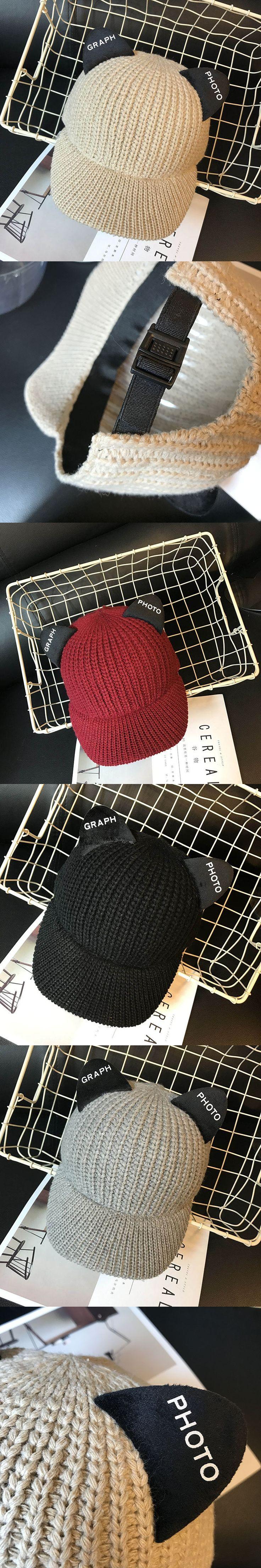 Fasshion Women's Hat Korean Style Winter Knitted Cap Cute Cat Ear Cap with Letter Autumn New Casual Men Baseball Caps HT035