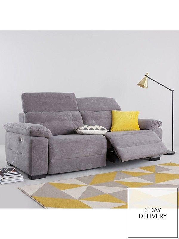 Bowen Fabric 3 Seater Power Recliner Sofa Reclining Sofa Power Reclining Sofa Sofa Uk