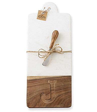 Mud Pie Initial Marble and Wood Cutting Board #Dillards