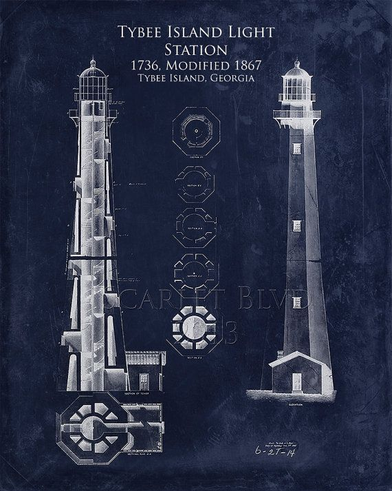 Frame NOT included. Shown for display purposes only.   This architectural blueprint will add interest and history to any wall in your house.  Part of Scarlet Blvds Art Historical Blueprint line, Tybee Island Light is a lighthouse next to the Savannah River Entrance, on the northeast end of Tybee Island, Georgia. It is one of seven surviving colonial era lighthouse towers, though highly modified in the mid 1800s. This was created using vintage public domain blueprints obtained from the…