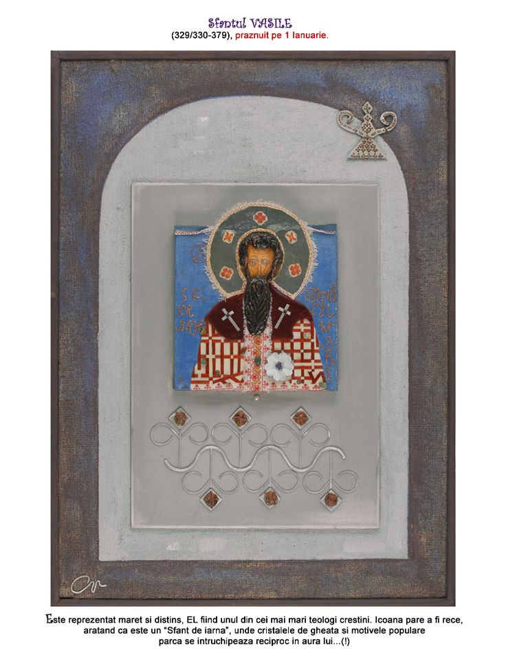 "Saint Basil (329/330-379), celebrated on the 1st of January. He is represented as great and distinguished, being one of the greatest Christian theologians. The icon seems cold, which shows that He is a ""Winter Saint"", ice crystals and traditional motifs embodying each other in his aura."