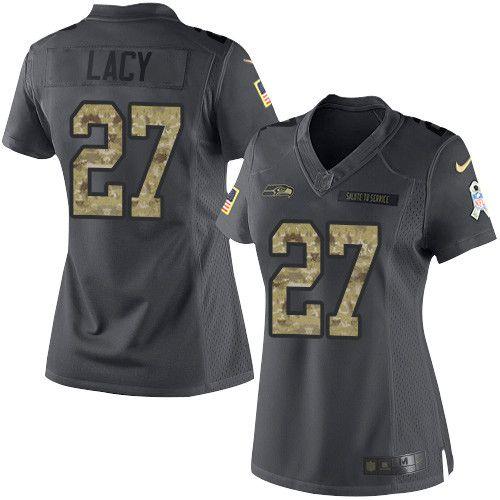 $24.99 Women's Nike Seattle Seahawks #27 Eddie Lacy Limited Black 2016 Salute to Service NFL Jersey